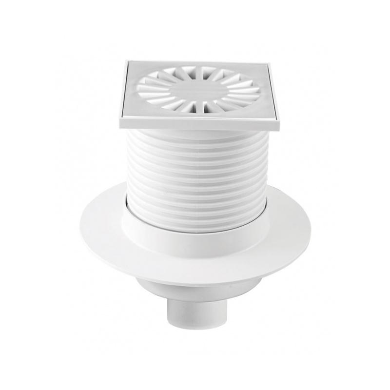 Podlahová vpusť spodní s přírubou PVS 100x100 PR/DN50 bílá - na objednávku - 1