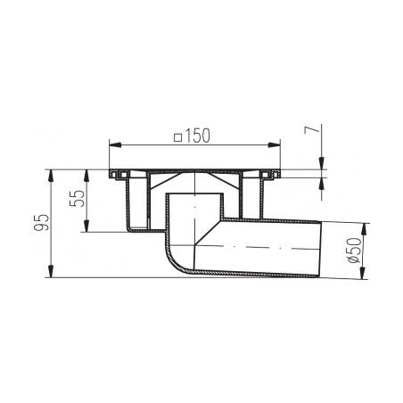 Podlahová vpusť boční PVB DN 50 bílá - 2