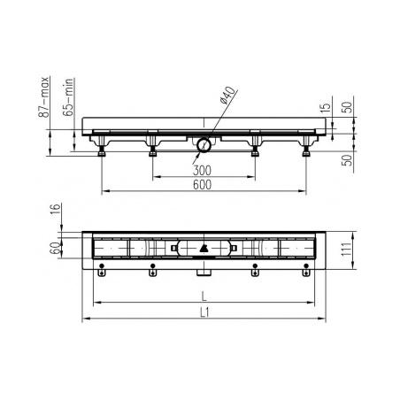 Podlahový lineární žlab ke stěně 850 mm medium mat - 3