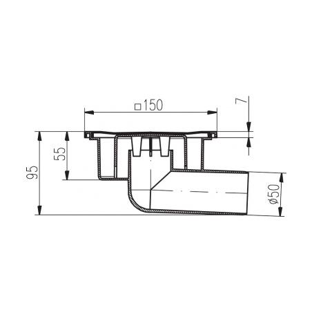 Podlahová vpusť boční PVB DN 50 nerez - 2