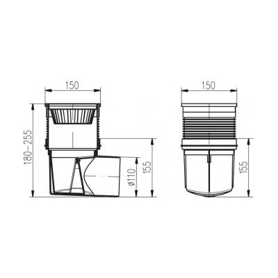 Kanalizační vpusť boční KVB DN 110 černá - 2