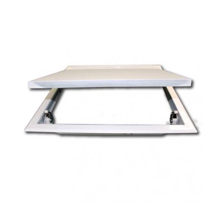 Revizní dvířka kovová 150x150 s tlačným zámkem bílá - 3