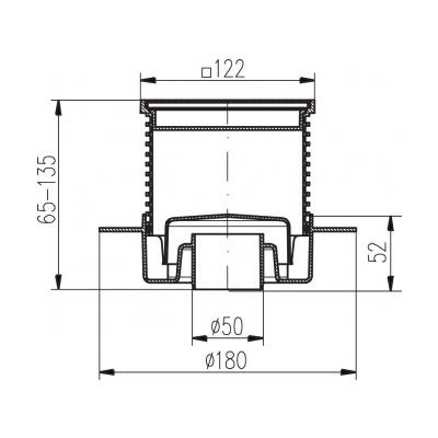 Podlahová vpusť spodní s přírubou PVS 122x122 PR/DN50 nerez - 2