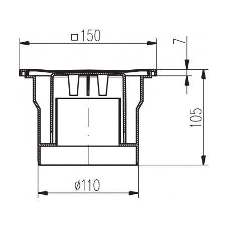 Podlahová vpusť spodní PVS DN 110 nerez - 2