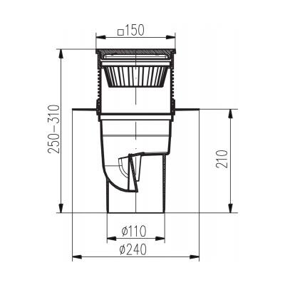 Kanalizační vpusť spodní KVS DN 110 litina - na objednávku - 2