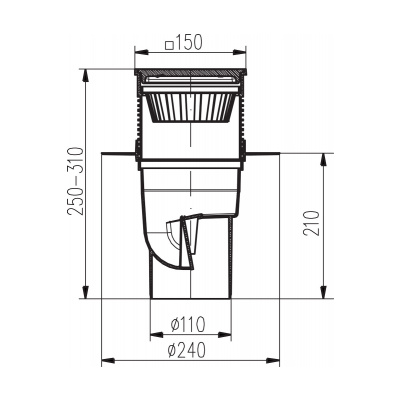 Kanalizační vpusť spodní KVS DN 110 nerez - na objednávku - 2