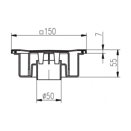 Podlahová vpusť PV DN 50/55 nerez - 2