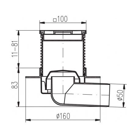 Podlahová vpusť boční s přírubou PVB 100x100 PR/DN50 nerez - 2