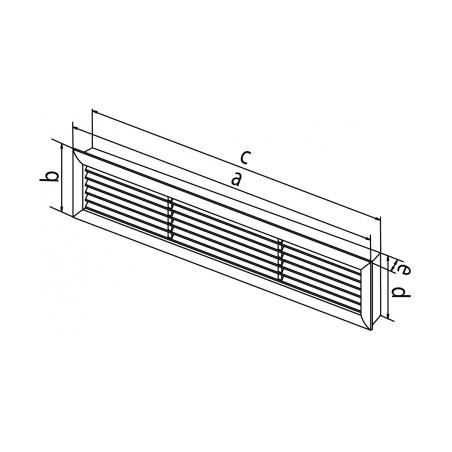 Dřevěná větrací mřížka dveřní 500x90 - 3