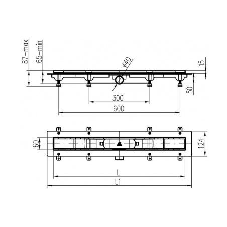 Podlahový lineární žlab 850 mm klasik mat - 5