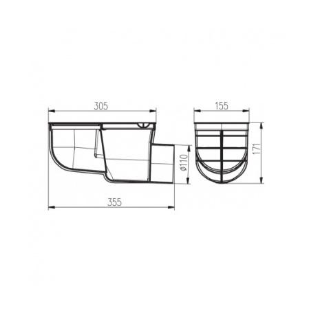 Lapač střešních vod boční LSVB DN 110 černá - 2