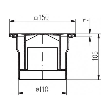 Podlahová vpusť spodní PVS DN 110 černá - 2