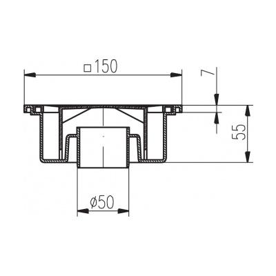 Podlahová vpusť PV DN 50/55 bílá - 2