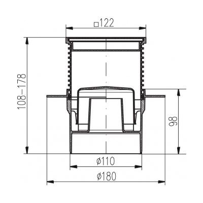 Podlahová vpusť spodní s přírubou PVS 122x122 PR/DN110 nerez - 2