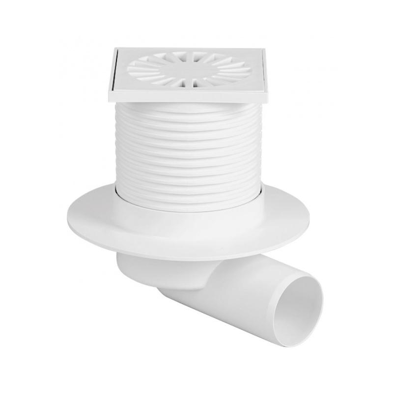 Podlahová vpusť boční s přírubou PVB 100x100 PR/DN 50 bílá - 1