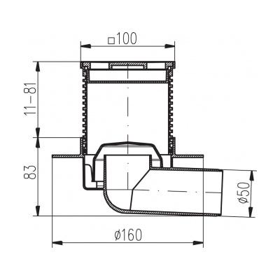 Podlahová vpusť boční s přírubou PVB 100x100 PR/DN 50 bílá - 2