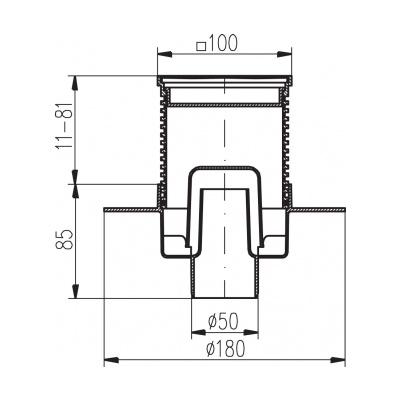 Podlahová vpusť spodní s přírubou PVS 100x100 PR/DN50 nerez - na objednávku - 2