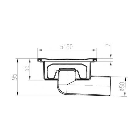 Podlahová vpusť boční - Neptun DN 50 NN - 2