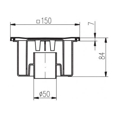 Podlahová vpusť PV DN 50/84 nerez - 2
