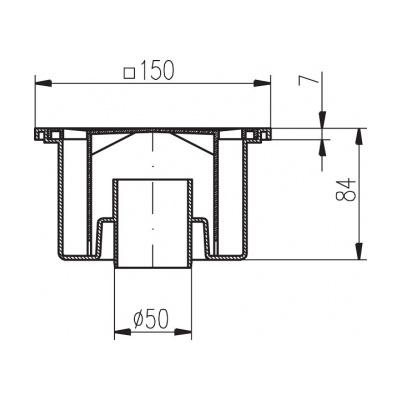 Podlahová vpusť PV DN 50/84 bílá - 2