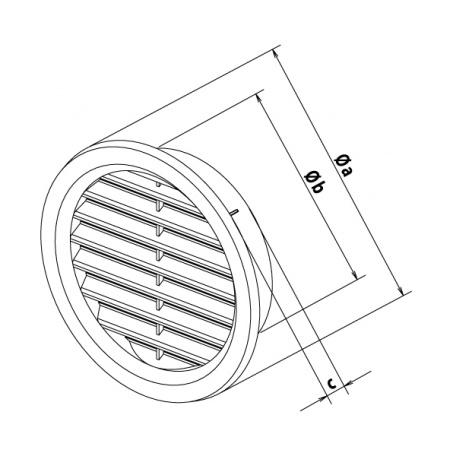 Větrací mřížka kruhová se síťovinou 100 hnědá - 3