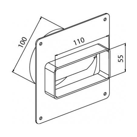 Přechodový kus s klapkou CZP 110x55/100 - 5