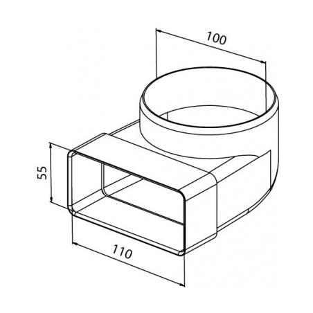 Přechodový kus koleno CKZ 100/110x55 - 3