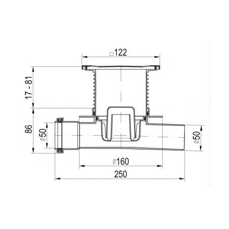 Podlahová vpusť průběžná s přírubou PVP 122x122 PR/DN 50 nerez - 2